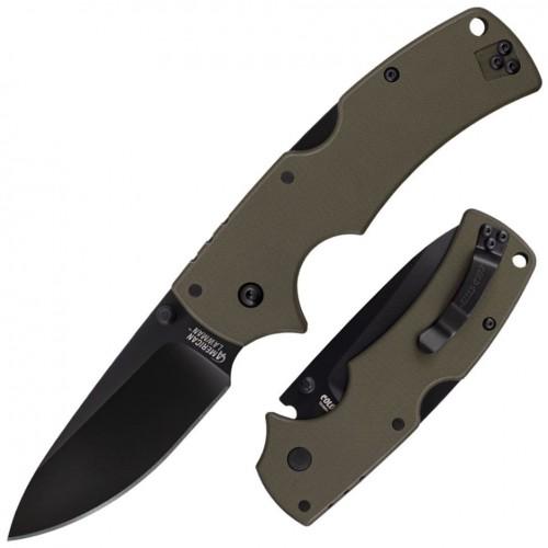 Нож складной Cold Steel American Lawman, CTS-XHP Plain Blade, Green G-10 Handle