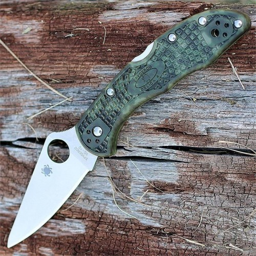 Нож складной Spyderco Delica 4, Zome Green FRN Handle